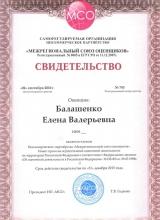Свидетельство специалиста-оценщика Балашенко